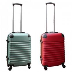 Travelerz kofferset 2 delige ABS handbagage koffers - met cijferslot - 39 liter - groen - rood