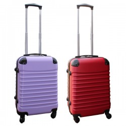 Travelerz kofferset 2 delige ABS handbagage koffers - met cijferslot - 39 liter - lila - rood