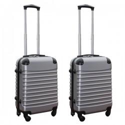 Travelerz kofferset 2 delige ABS handbagage koffers - met cijferslot - 39 liter - zilver