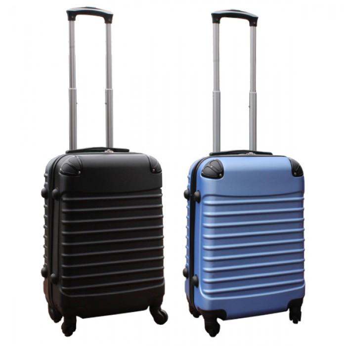 Travelerz kofferset 2 delige ABS handbagage koffers - met cijferslot - 39 liter - zwart - licht blauw