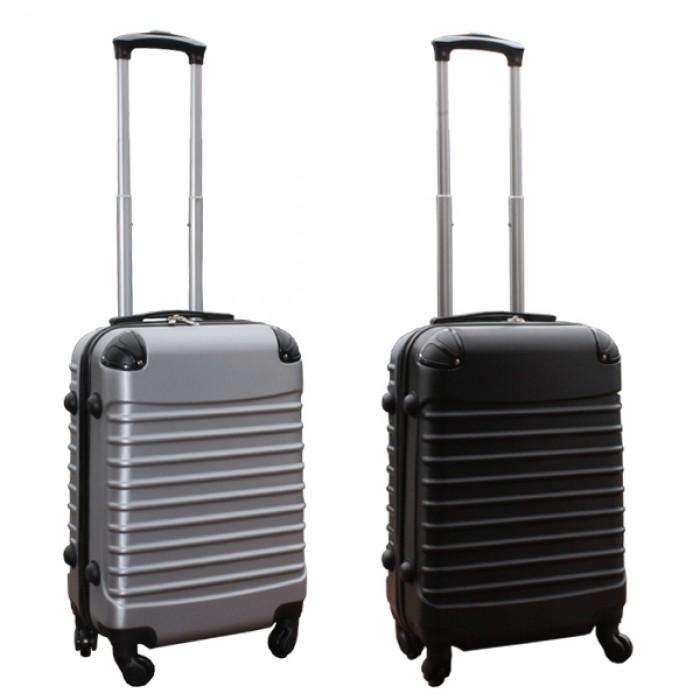 Travelerz kofferset 2 delige ABS handbagage koffers - met cijferslot - 39 liter - zwart - zilver