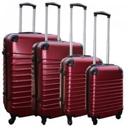 Travelerz kofferset 4 delig ABS - zwenkwielen - met cijferslot - bordeauxrood