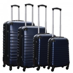 Travelerz kofferset 4 delig ABS - zwenkwielen - met cijferslot - donker blauw
