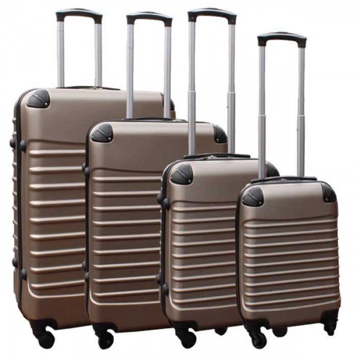 Travelerz kofferset 4 delig ABS - zwenkwielen - met cijferslot - goud