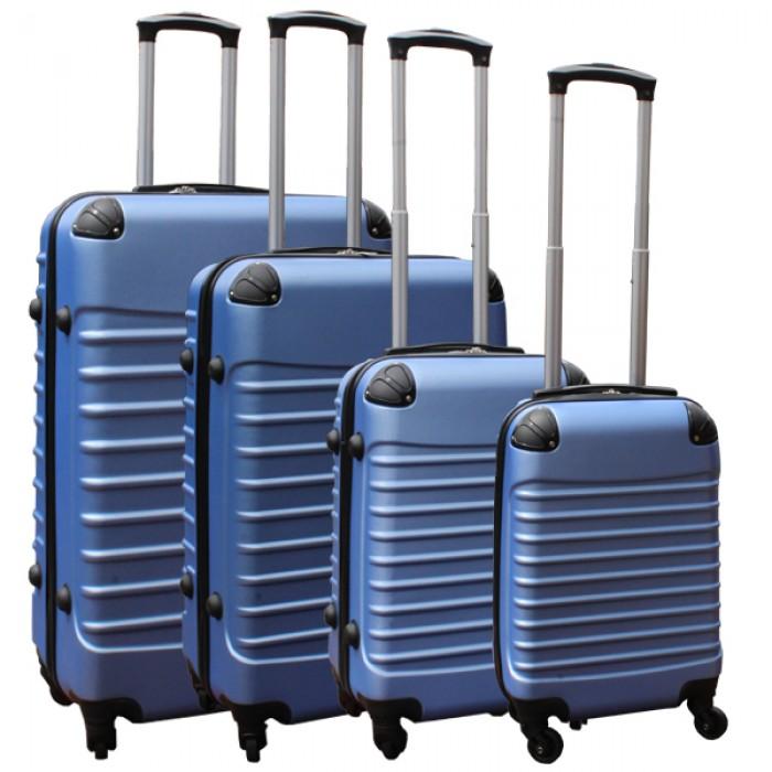 Travelerz kofferset 4 delig ABS - zwenkwielen - met cijferslot - licht blauw