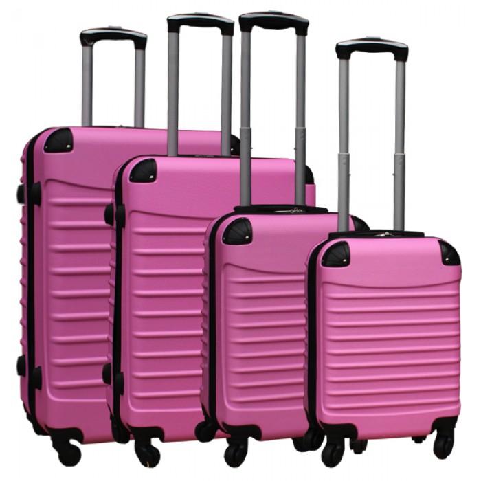 Travelerz kofferset 4 delig ABS - zwenkwielen - met cijferslot - licht roze