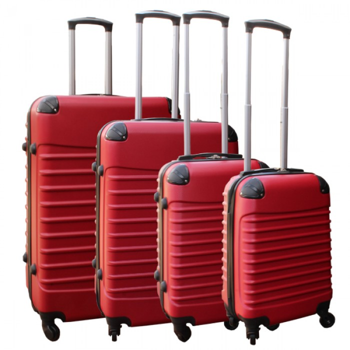 Travelerz kofferset 4 delig ABS - zwenkwielen - met cijferslot - rood