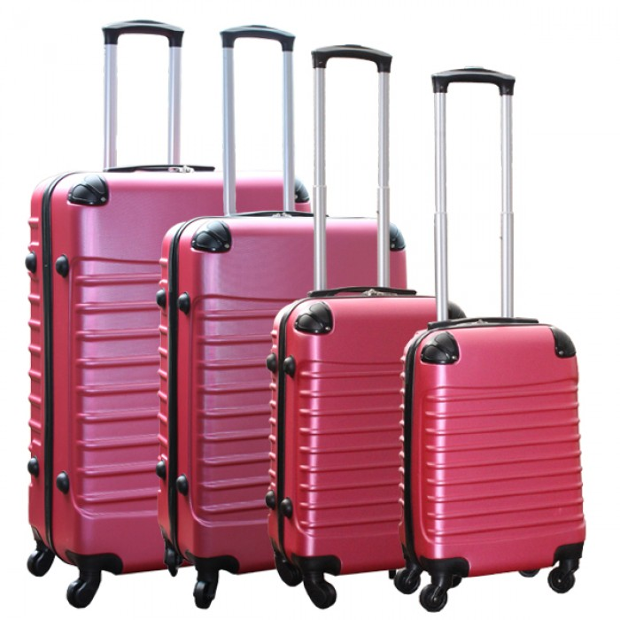 Travelerz kofferset 4 delig ABS - zwenkwielen - met cijferslot - roze