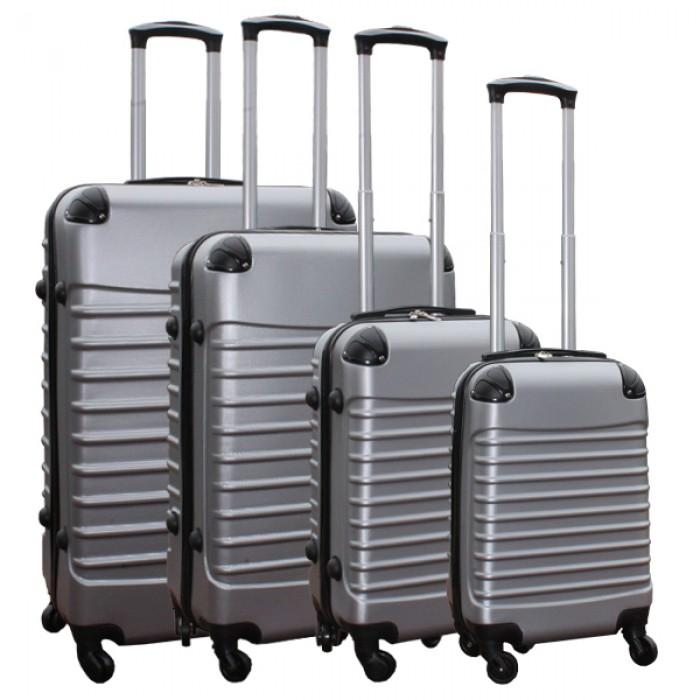 Travelerz kofferset 4 delig ABS - zwenkwielen - met cijferslot - zilver