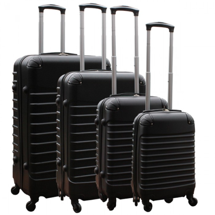Travelerz kofferset 4 delig ABS - zwenkwielen - met cijferslot - zwart