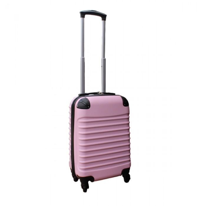 2 delige ABS handbagage kofferset 27 liter zwart en licht roze (228)