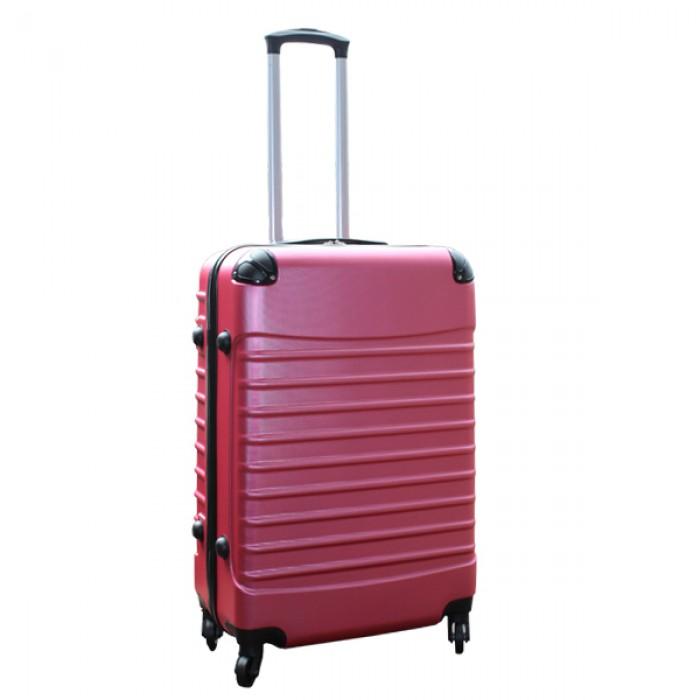 Travelerz kofferset 2 delige ABS groot - met cijferslot - 69 liter - roze - zilver
