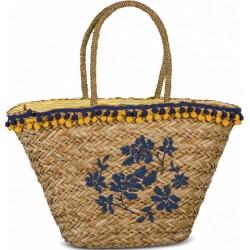 shopper Blue Flowers dames 27 liter riet lichtbruin