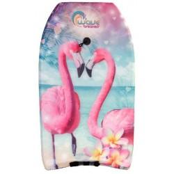 bodyboard Flamingo junior foam 83 cm lichtblauw/roze