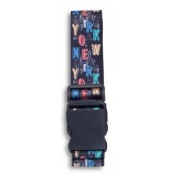 bagageriem NY City 190 x 5 cm zwart/multicolor