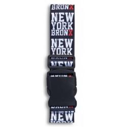 bagageriem NY Bronx 190 x 5 cm zwart/wit/rood
