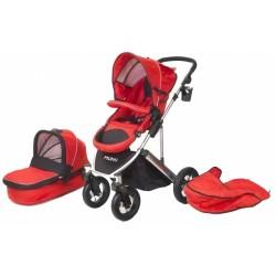 combi-kinderwagen Daily Transporter en reiswieg rood