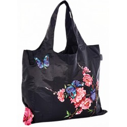 shopper 50 x 42 cm polyester zwart/roze