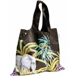 shopper Tropisch 50 x 42 cm polyester zwart/groen