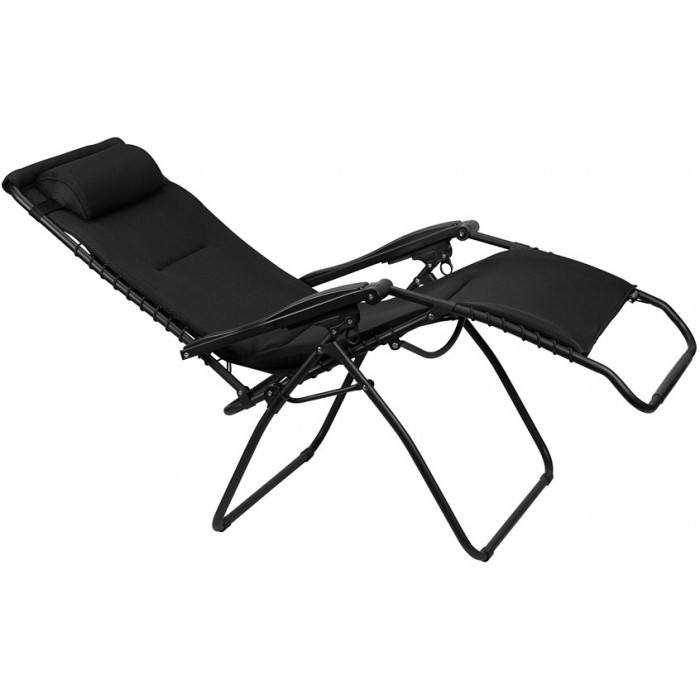 Abbey campingstoel Chaise Longue 90 x 75 x 112 cm zwart