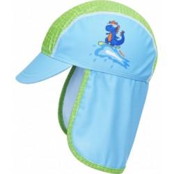 Playshoes zonnenhoed met klep Dino blauw/groen mt 49 cm