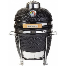 Yakiniku houtskoolbarbecue Kamado 11 inch keramiek/RVS zwart