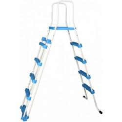 zwembadtrap A-Frame junior 132 cm wit/blauw