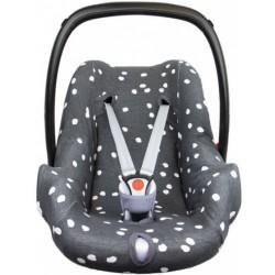 Briljant Baby autostoelhoes 0+ Spots junior katoen antraciet/wit