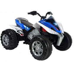 accuvoertuig quad Rage jongens 12V 118 cm blauw/wit