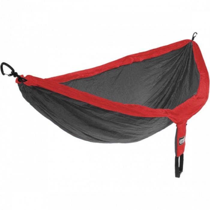 hangmat Doublenest 2,8 x 1,9 m nylon grijs/rood 4-delig