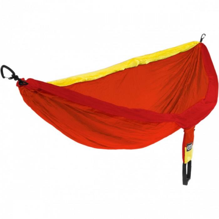 hangmat Doublenest 2,8 x 1,9 m nylon oranje/geel 4-delig