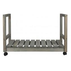 houtopslag verrijdbaar 84 x 55,5 cm hout grijs