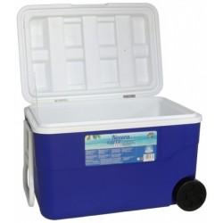 Gerimport koelbox met wielen 50 liter 64 x 42 cm blauw/wit