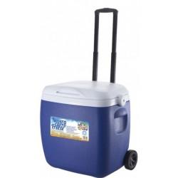 Gerimport koelbox op wielen 53 cm 18 liter blauw/wit