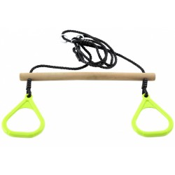 ringtrapeze hout 150 cm bruin/lime