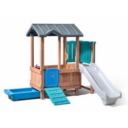 Step2 speelhuis met glijbaan Woodland Adventure 193 cm bruin