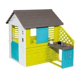 Smoby speelhuis met keuken 145 x 110 x 127 cm lime 17-delig