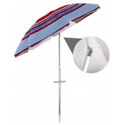 Gerimport strandparasol 200 cm polyester/aluminium blauw/rood