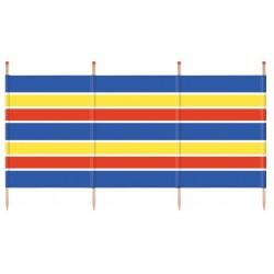 windscherm 120 x 224 cm hout/polyester blauw/geel/rood