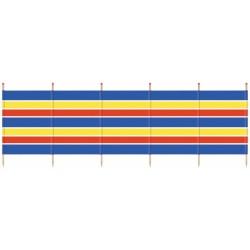 windscherm 120 x 371 cm hout/polyester blauw/geel/rood