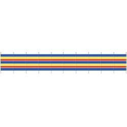 windscherm 150 x 610 cm hout/polyester blauw/geel/rood