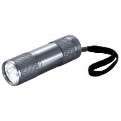 XD Collection zaklamp Quattro led batterijen 9 cm grijs